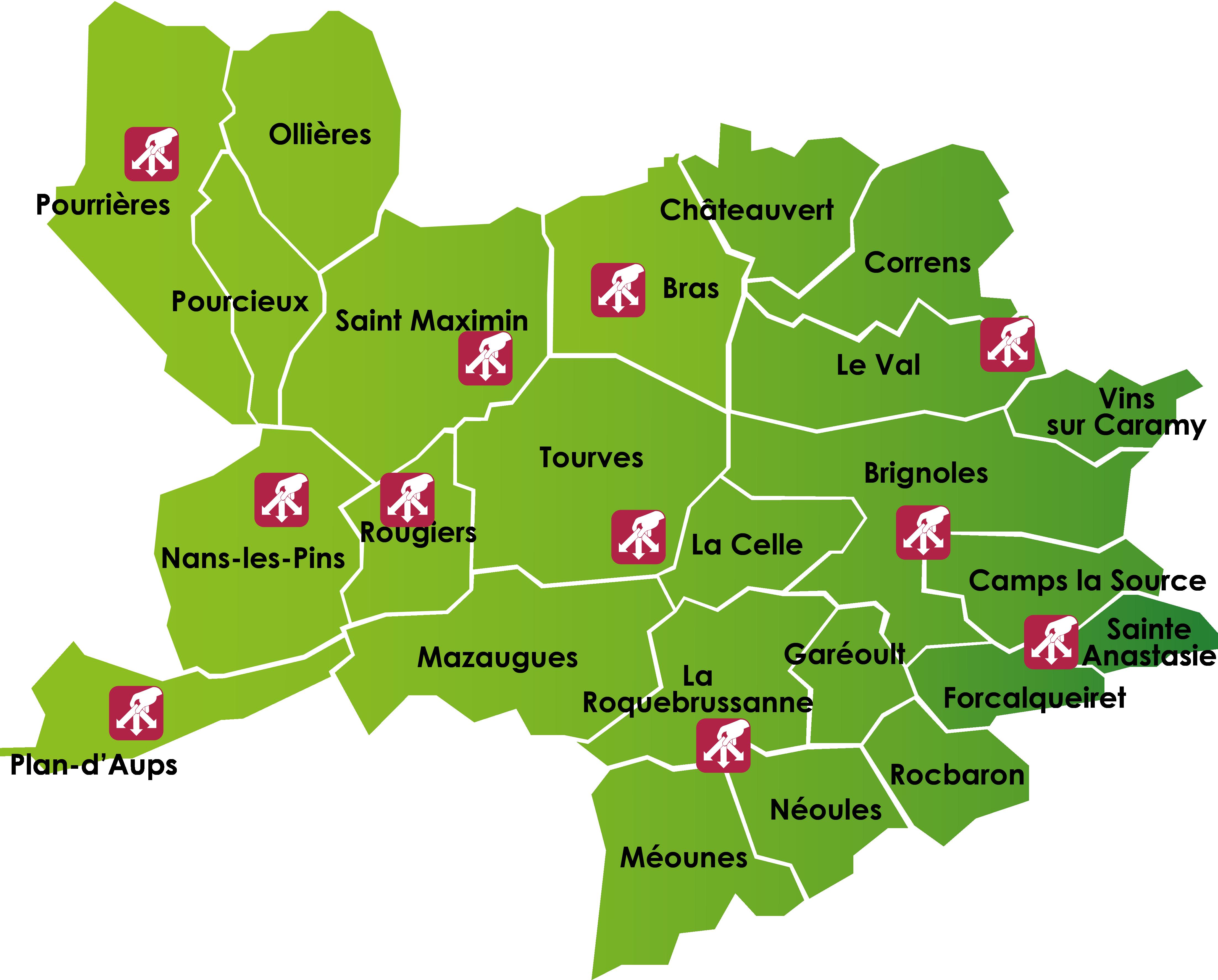 Carte des Espaces-triS du SIVED NG