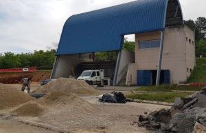Pendant les travaux : zone de stationnement des semi-remorques